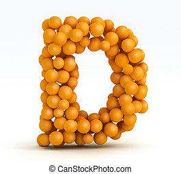 Letter d, font of orange citrus - Letter H, font of orange...