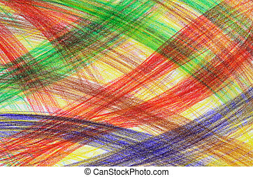 Hand-drawn background - Hand-drawn multicoloured crayon...