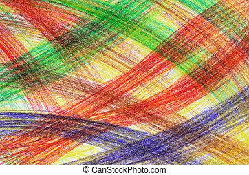 Hand-drawn background - Hand-drawn multicoloured crayon...