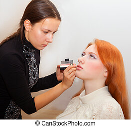 Girlfriends doing makeup   - Young girls doing makeup