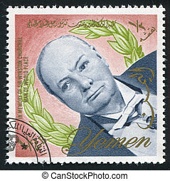 Winston Churchill - YEMEN - CIRCA 1972: stamp printed by...