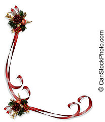 Christmas border red ribbons - Image and illustration...