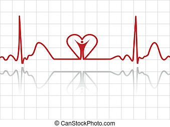 ECG background - Background with ECG lines, human and heart