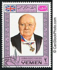 Winston Churchill - YEMEN - CIRCA 1968: stamp printed by...