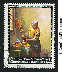 Milkmaid by Vermeer - YEMEN - CIRCA 1972: stamp printed by...