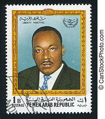 Martin Luther King - YEMEN - CIRCA 1968: stamp printed by...