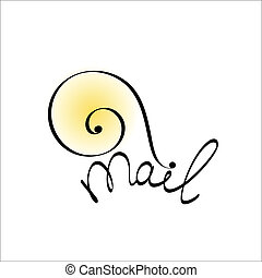 Snail mail icon. Concept illustration
