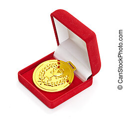 Golden medal in red gift box isolated on white background
