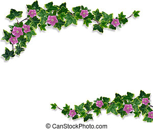 Ivy and periwinkle page border image and illustration...