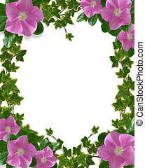Ivy and periwinkle page border - Illustration and image...