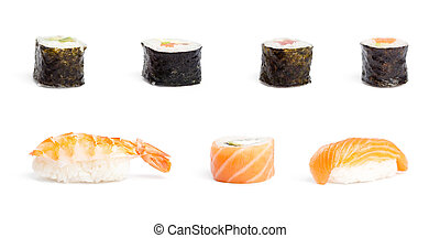 Sushi pieces collection, isolated on white
