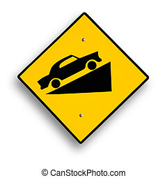 Traffic sign isolated - Curve sign isolated on white,...