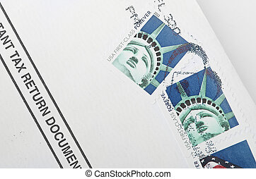 Postage stamp printed in USA shows the Statue of Liberty -...