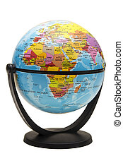 Terrestrial globe isolated on a white background with...