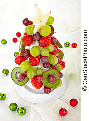 Edible christmas tree - Fruit Christmas Tree, styrofoam...
