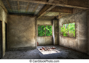 Derelict - Empty room in a disused house with overgrown...