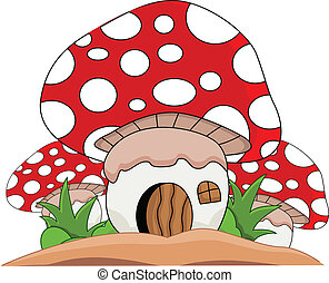 Cartoon mushrooms house - vector illustration of Cartoon...