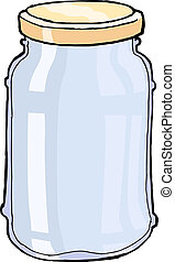 glass jar - hand drawn, vector, sketch illustration of jar