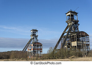 old coal mine shafts - old and renovated coal mine shafts