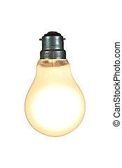 lit lightbulb on white - light bulb lit up on white...