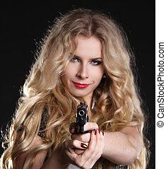 excitado, loura, mulher, segurando, arma, isolado, pretas,...