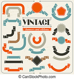 Collection of labels and ribbons in retro vintage style