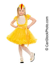 little girl in a yellow dress