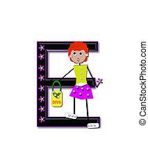 Alphabet Diva Dolly E - The letter E, in the alphabet set...