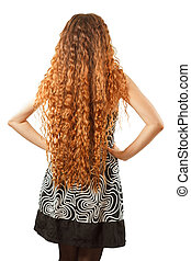 Hairstyle from long curly hair from the back on an isolated...