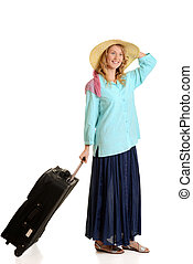 young woman traveling with luggage on white background