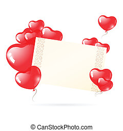 Valentine's day card with heart balloons