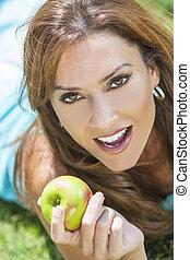 完美, 婦女, 吃, 蘋果, 牙齒, 微笑