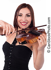 Beautiful girl playing violin. White background