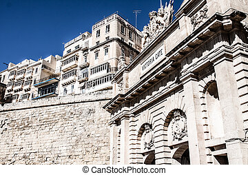 The Victoria gate, one of the entrances to Valletta, capital...