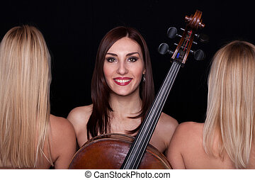 Musical Trio tree young woman in clasical music