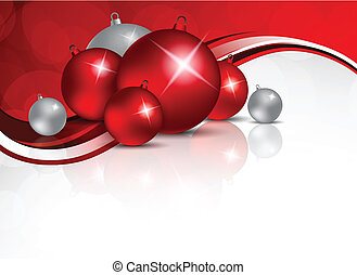 Xmas background with red and silver balls