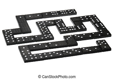 Domino - 28 black domino pieces on the white background.