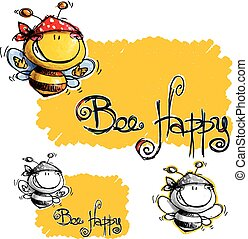 Bee Happy - Cartoon illustration of a happy bee wearing a...