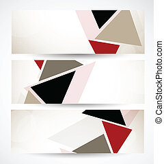 Set of banners with triangles. Abstract illustration