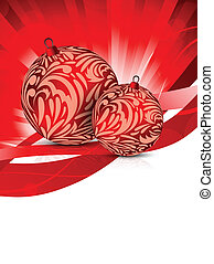 Xmas background - Two evening balls on red background. Xmas...