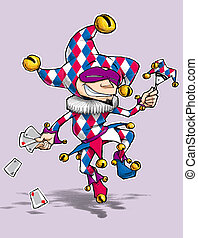 Blue & Red Diamond Fool - Cartoon illustration of a dancing...