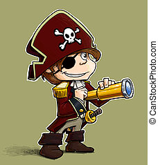 Little Pirate - Cartoon Illustration of a Little boy dressed...