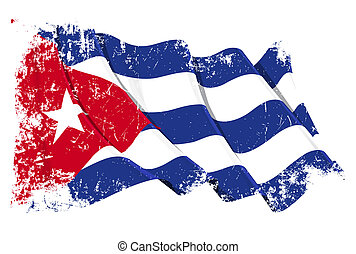 Grange Flag of Cuba - Grunge illustration of a waving Cuban...