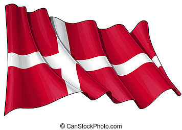 Flag of Denmark - Clean cut illustration of a waving Danish...