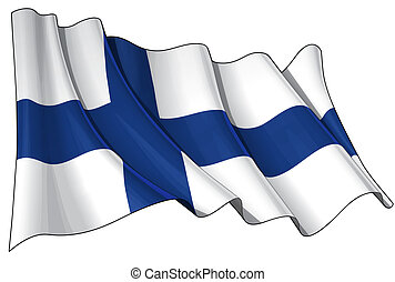 Flag of Finland - Clean cut illustration of a waving Finish...