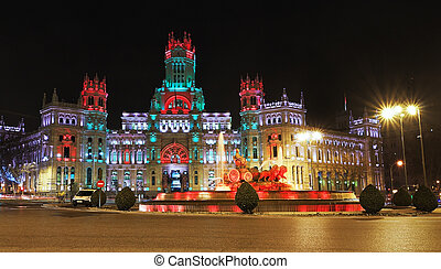 Cibeles Fountain and Palacio de Comunicaciones, Madrid,...