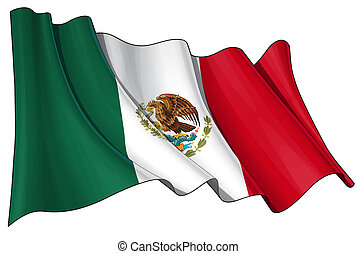 Flag of Mexico - Clean cut illustration of a waving Mexican...