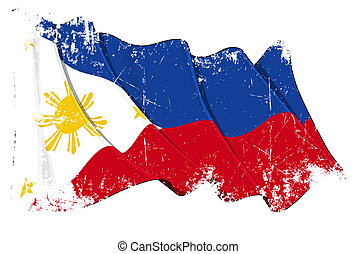 Grunge Flag of Philippines - Grunge illustration of a waving...