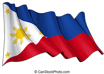 Flag of Philippines - Clean cut illustration of a waving...