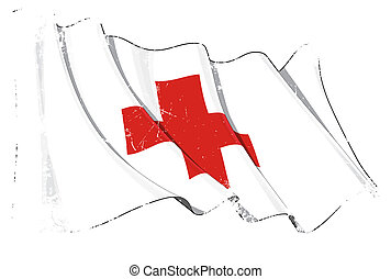 Grunge Flag of Red Cross - Clean cut illustration of a...